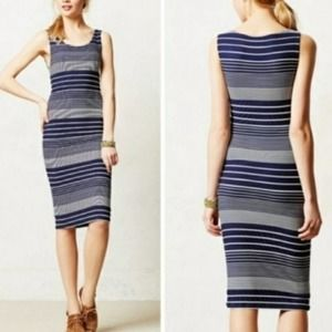 Anthropologie Maeve Fitted Navy Striped Dress XS